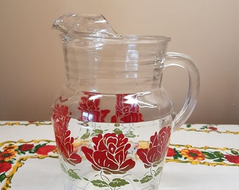 Vintage Floral Glass Lemonade Pitcher with Ice Lip