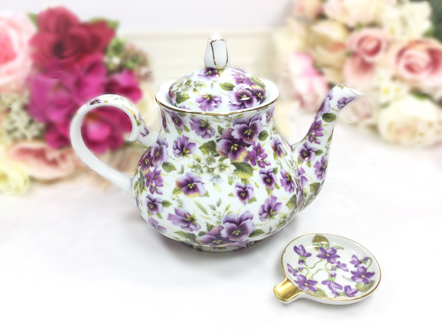 Purple pansy teapot purple floral porcelain teapot for tea set purple pansy teapot purple floral porcelain teapot for tea set tea party wedding formalities by baum bros summer pansy collection a737 reviewsmspy