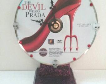 Repurposed Movie DVD Clock, The Devil Wears Prada, Recycled, Upcycled DVD Clock, Handmade, Clock, Functional Art, Made By Mod.