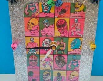 Handmade Acrylic Mexican Wrestler Wall Clock, Functional Art, Mexican Wrestler, Handmade Clock, Mexican, Made By Mod.