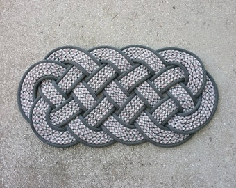 "Rope Rug by NAUTI NARWHAL™ /  Nautical Knot Doormat in White, Gray & Brown / Climbing and Sailing rope / Indoor Outoor rug /  29"" x 15"""