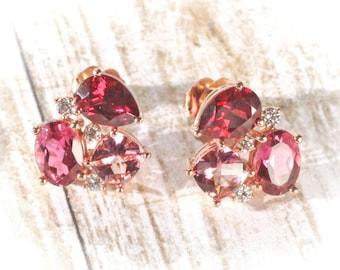14K Rose Gold Rhodolite Garnet, Pink Topaz & Tourmaline1/6 CTW Diamond Earrings