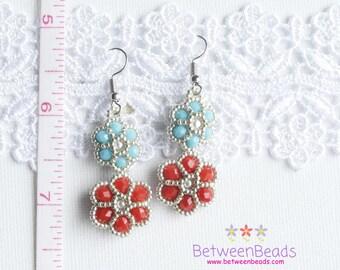 Double Flower Earrings, Red and Blue, Silver Flowers, Beaded Earrings, Dangle Drop Earrings, Floral Daisy Earring, Light weighted Earrings
