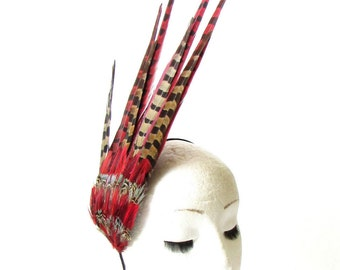 Red Brown Pheasant Feather Statement Fascinator Races Headpiece Hair Vtg 1467