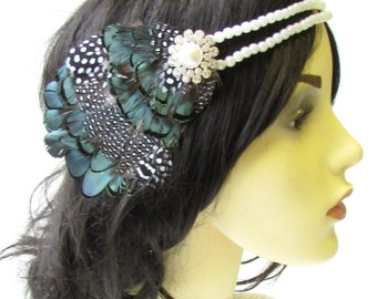 Black White Dark Green Ivory Pearl Feather Headpiece 1920s Headband Flapper 1626