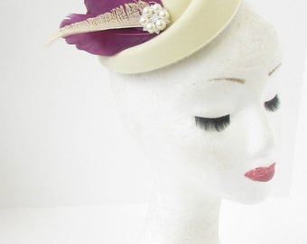 Cream Purple Ivory Feather Pillbox Hat Races Hair Fascinator Headpiece Vtg 2176