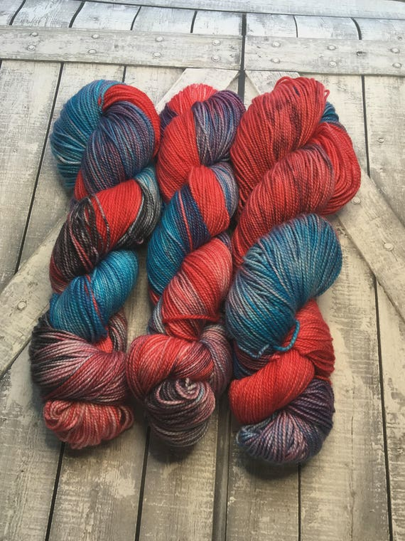 Hand Dyed Yarn, Bilquis, American Gods Yarn, Fingering Weight,2 ply,80/20 Superwash Merino,100 grams,indie dyed yarn,knit & crochet