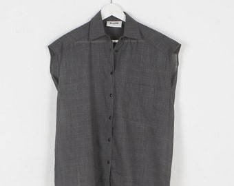 Gray top, women gray blouse, gray shirt, gray button up top, women shirt, women top, women gray shirt by Meanwhile.