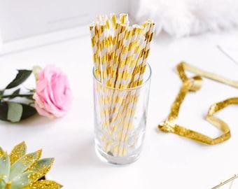 Metallic Gold and White Stripe Straws - Gold Foil Party Decor - Gold Birthday Party - Bridal Shower Decor - Wedding Decor - Engagement Decor