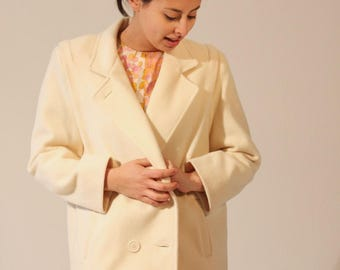 Womens Peacoat Vintage Peacoat Winter Coat Vintage Coat Formal Coat White Coat Collar Medium Vintage 80s Herman Kay Coat Jacket Cream White