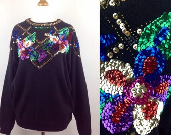 Vintage 80s Sequin Jumper, Xmas Sweater, Black Jumper, Multi Coloured Sequins, Sequin Appliqué, Retro Sequin Jumper, Hipster, Size 10 12 Med