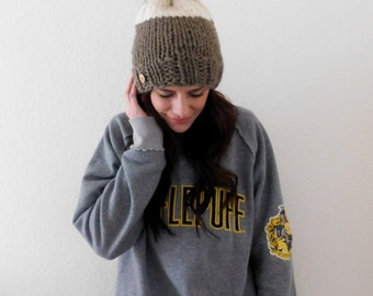 READY TO SHIP ~ Color Block Beanie with Faux Fur Pom Pom in Taupe and Fisherman