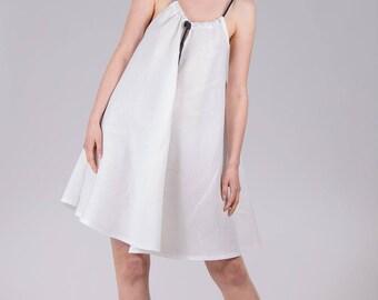 Linen summer dress / Woman's white dress / A-line black and white linen tunic / White tent sleeveless beach dress / Fasada 1779-2