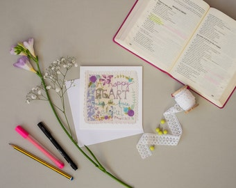 Greeting Card, Scripture Art, Bible Verse Print, Inspirational Quote, Encouragement Card, Scripture Embroidery
