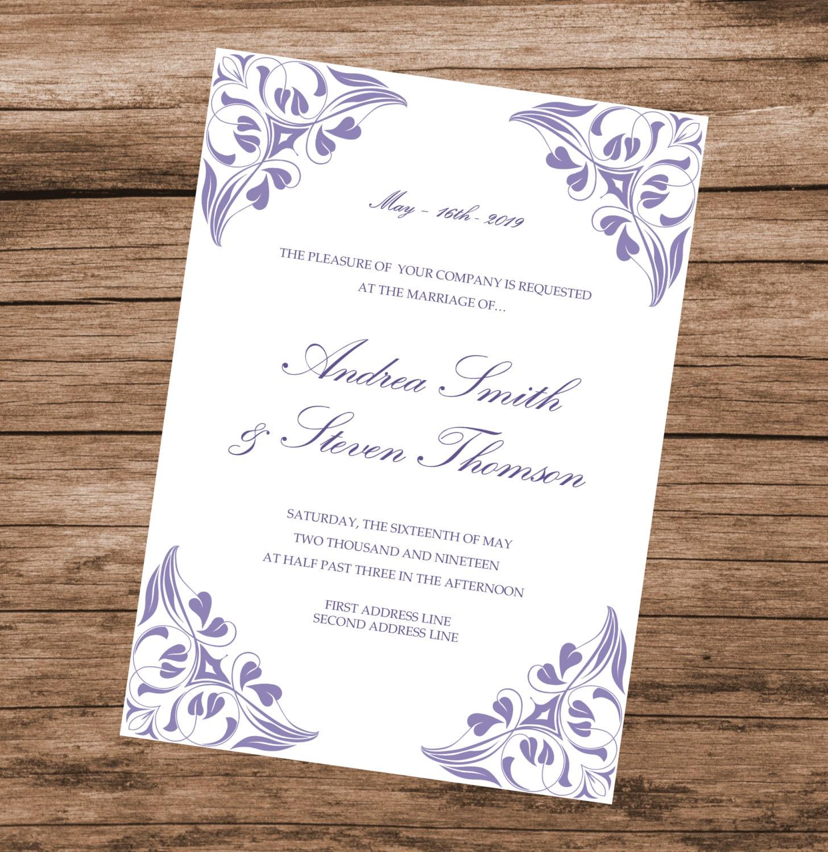 Elegant Wedding Invitation Templates: Lavender Invitation Template Printable Wedding Invite Purple