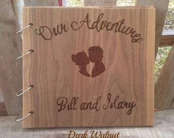 Large Personalized Wooden Scrapbook Photo Album, Wedding Guest Book, Wedding Adventures, Gift for Bride and Groom, Wood burned Album