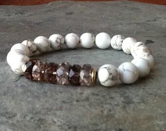 White Turquoise with Smoky Quartz Stretch Bracelet