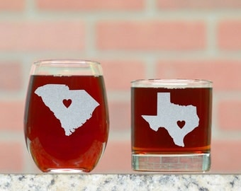 His and Hers Wine and Rocks Glasses. Pick and State and Place Heart Anywhere (Or Text) . Custom Whiskey and Stemless Wine Glasses.