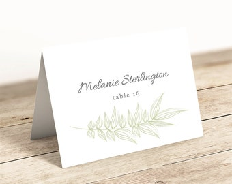 Greenery Wedding Table Place Card Template Flat and Folded
