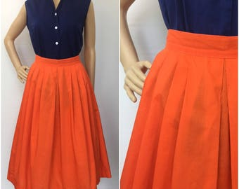 1950s Orange Pleated Skirt - Size Small - Vintage