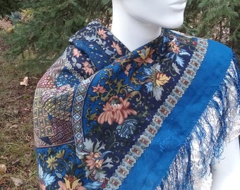 1970s Wool Challis Paisley Scarf with Silk Fringe