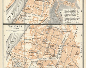 1914 Antique Map of Vienne and Valence France