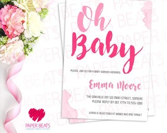 OH BABY! INVITATION - Baby Shower Invitation - Pink Baby Shower Invitation - Printable Baby Shower Invitation - Modern Baby Shower Invite