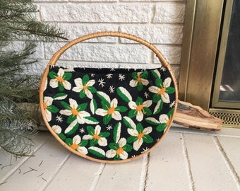 Vintage Wicker Hoop Embroidered Bag