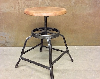 Vintage Industrial Steel Stool