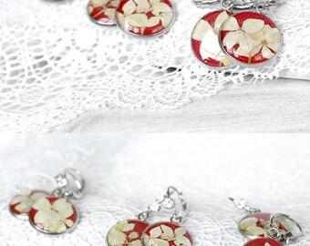 Handmade gift mother day gift earrings long red earrings charm jewelry Mother daughter jewelry Circle earrings Prom jewelry French earrings