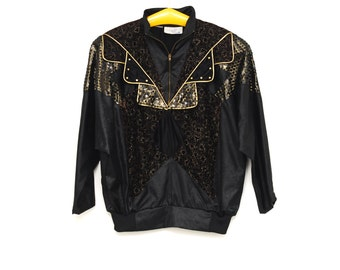 Vintage Peter and Jo Paris sequins slip on jacket, plus size silky fabric black and golden top with zip, collar, 1980s retro fashion France