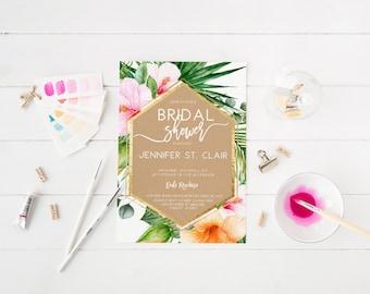 Kraft Tropical Bridal Shower Invitation Palm Tree Bridal Shower Tropical Leaves Bridal Shower Bachelorette Party Invite Printable Invitation