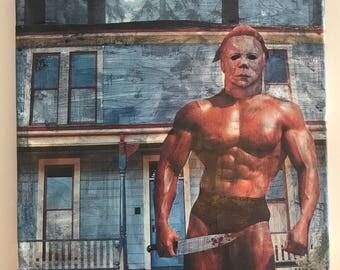 Michael Myers in Speedo, Slasher Movie, Halloween, Scary, Mixed Media Acrylic Painting on Canvas