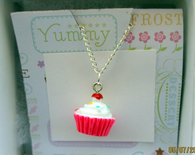 Pink cupcake necklace-Cupcake charm jewelry-pink cupcake gifts-hypoallergenic-sterling silver plated-cupcake bracelet-cute gifts for kids