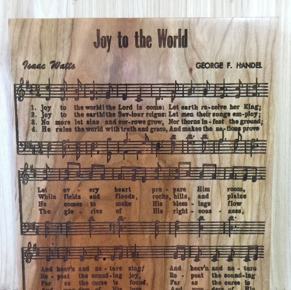 Joy to the World Engraved Wooden Sign in Cherry, Walnut, White Oak or Maple Wood.