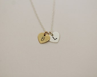 Two Initials Necklace / Set of One or Two Necklaces / Best Friend Necklace Set / Hand Stamped Hearts / Gold & Silver / Custom Personalized