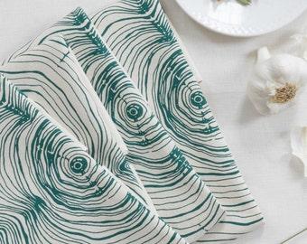Cloth Napkins - Washable - Reusable - Tree Ring Print - Cotton Napkin Set - Eco Friendly Dinner Napkins - Woodland Decor - Screen Printed