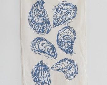 Tea Towel - Oyster Shell - Flour Sack Towel - Nautical Kitchen -Tea Towels - Cotton Kitchen Towel - Beach House Decor - Coastal Home - Blue