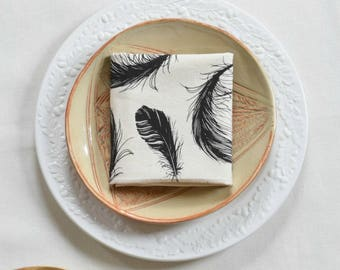 Feather Napkin Set - Hand Printed Cloth Napkins - Washable - Reusable - Cotton Napkin Set - Eco Friendly Dinner Napkins - Screen Printed