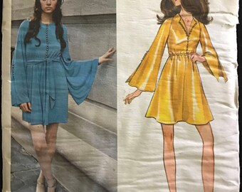 Butterick 5657 - 1960s Jean Muir Mini Dress with Raised Waist and Bell Sleeves - Size 12 Bust 34