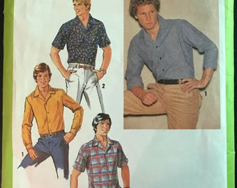 Simplicity 8944 - 1970s Mens Button Front Shirt with Notched Collar and Long or Short Sleeves - Size 38