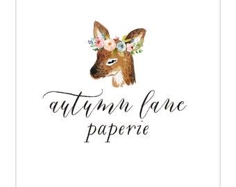 Premade Logo Design | Photography Logo | Modern Logo | Watermark | Branding Package | Watercolor Logo | Flower Logo | Floral Logo  Deer logo