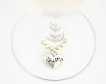 Best Man Wine Glass Charm, Swarovski Crystal, Best Man Gift, Best Man Wedding Favour, Groomsmen Gift, Groomsman Gift,