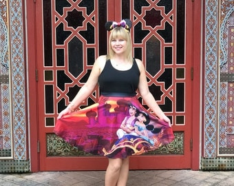 skirt inspired by arabian nights, flying carpets, a monkey and a lamp