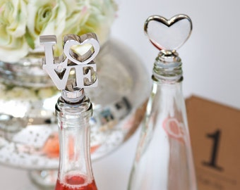 Wine Stoppers Love is here, Champagne Romantic Heart  or LOVE  bottle stoppers for wedding decor table, Celebration gift bottle stoppers