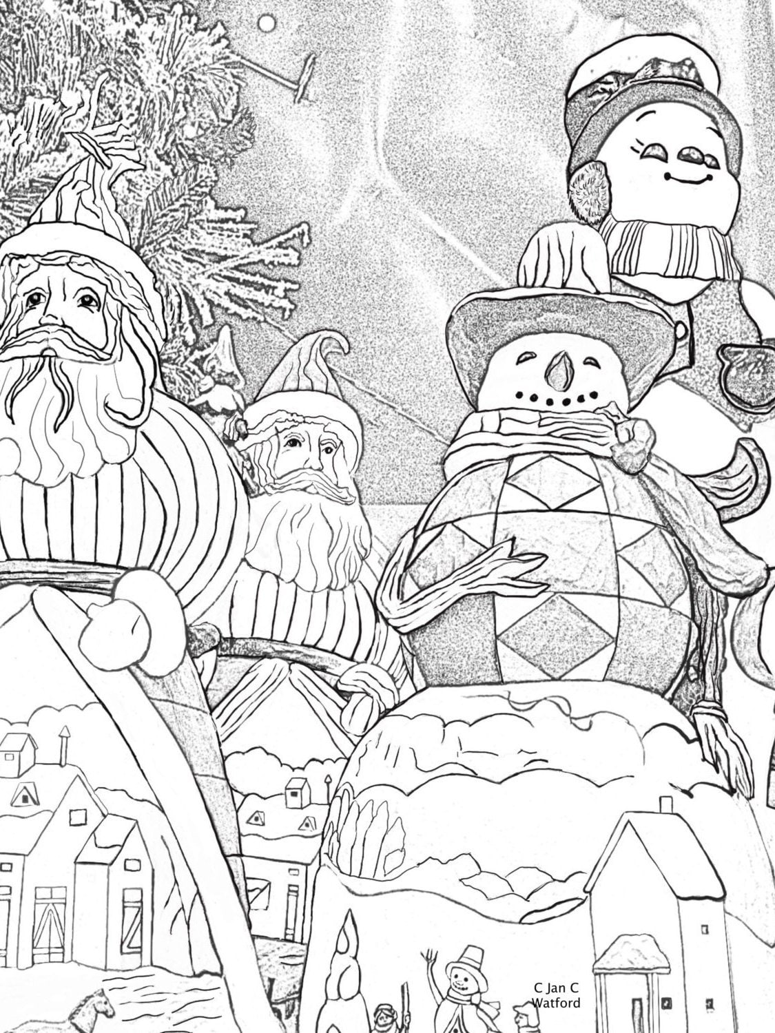 Santas and Snowman, Adult Coloring Pages, Adult Coloring ...