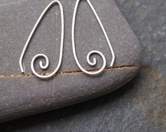 silver spiral earrings, handmade spiral drop earrings with hammered texture