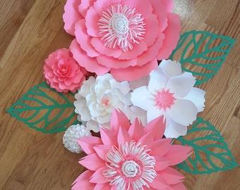 Nursery paper flowers, Nursery decor, Baby shower paper flowers, Baby shower backdrop, nursery art,  paper flowers for nursery, wall art