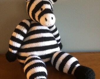 """Knitted Stuffed """"Zeke"""" The Zebra"""