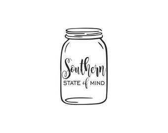 Southern State of Mind Decal - Mason Jar Decal - Mason Jar Monogram Decal - Southern Decal - Mason Jar sticker